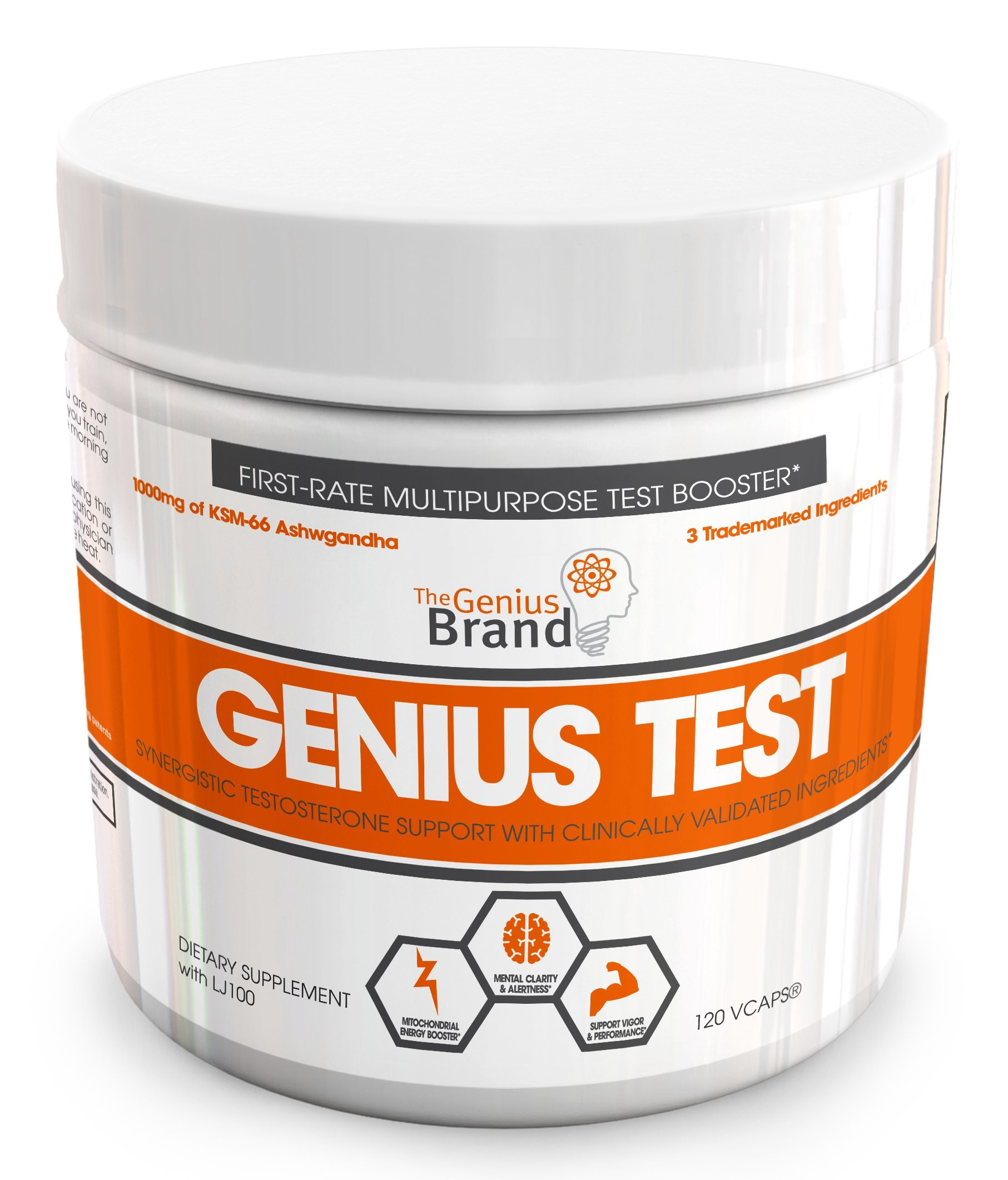 GENIUS TEST - The Smart Testosterone Booster, Dynamic Natural Energy Supplement, Brain Support, Libido, Fat Loss & Muscle Building with Trademarked Ashwagandha, Shilajit and Tongkat Ali, 30 Day Cycle