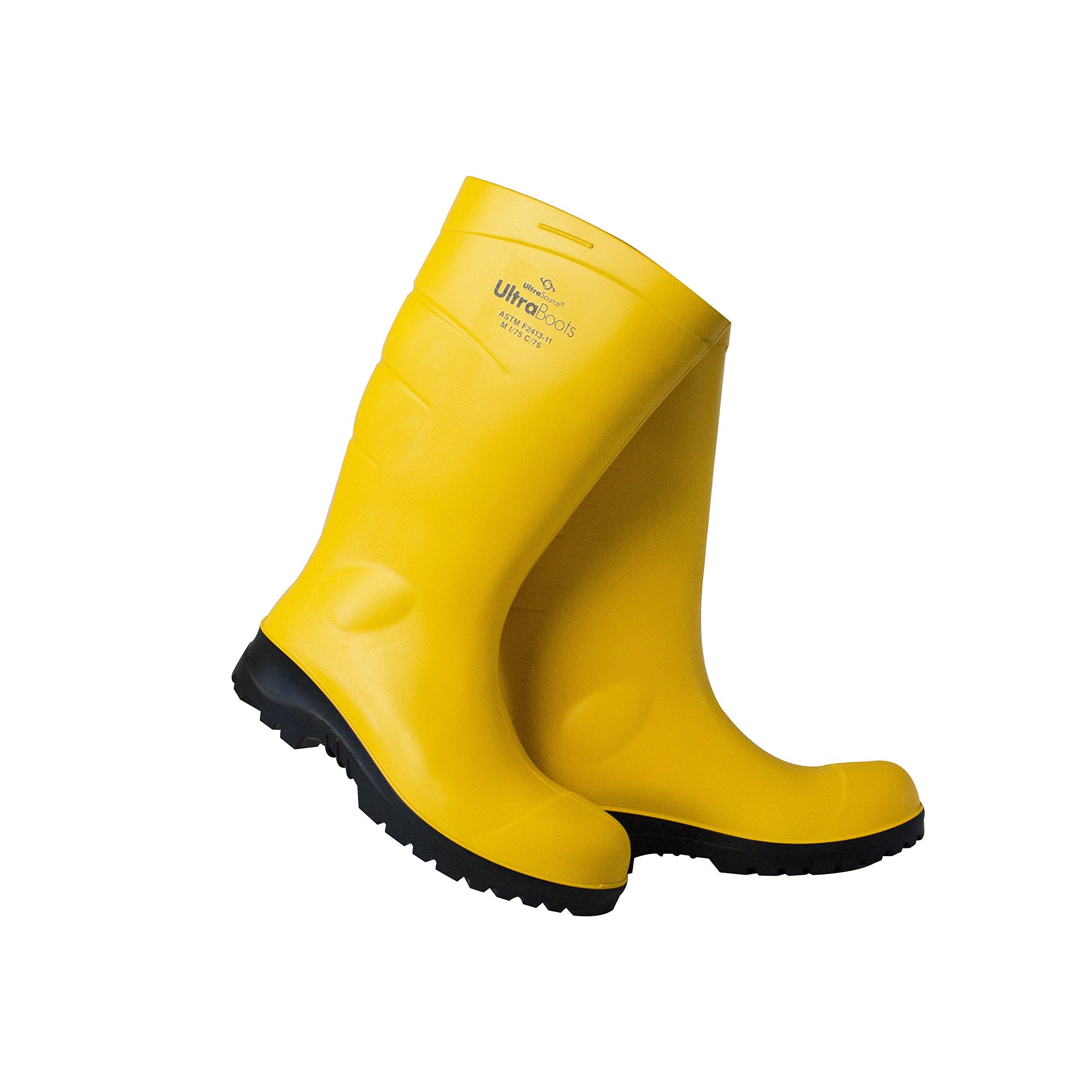UltraSource Polyurethane Steel Toe Work Boots, Yellow, Size 10