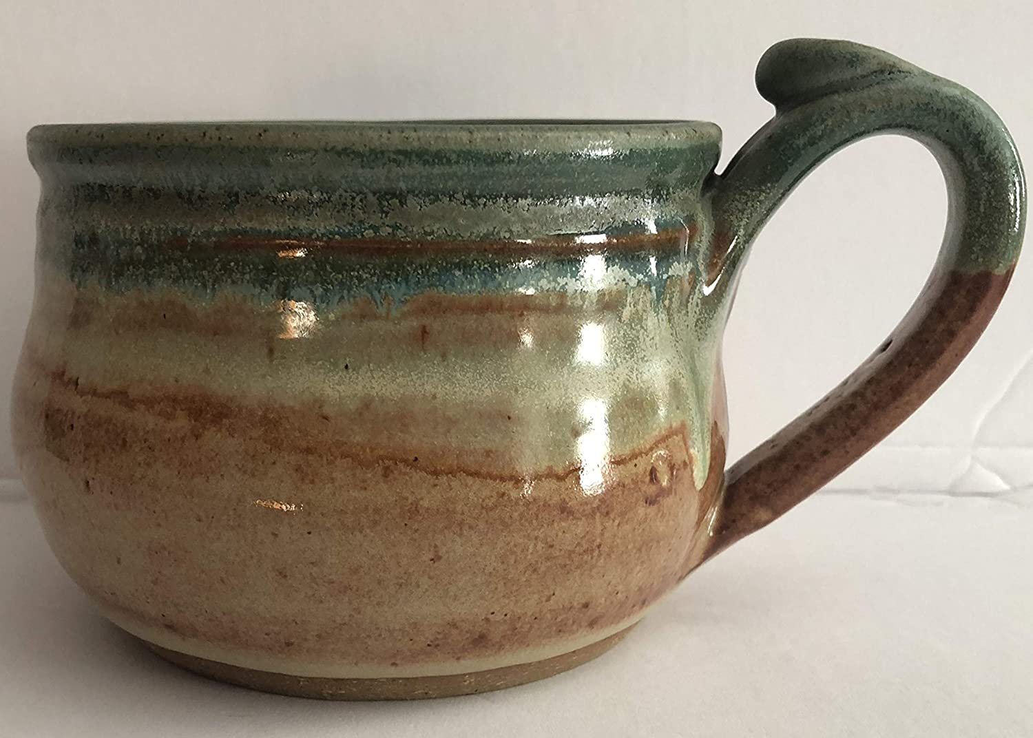 14 oz Blue and Beige Hand Made Ceramic Stoneware Pottery Soup Crock Bowl with Handle Hand Painted and Glazed 1 Bowl
