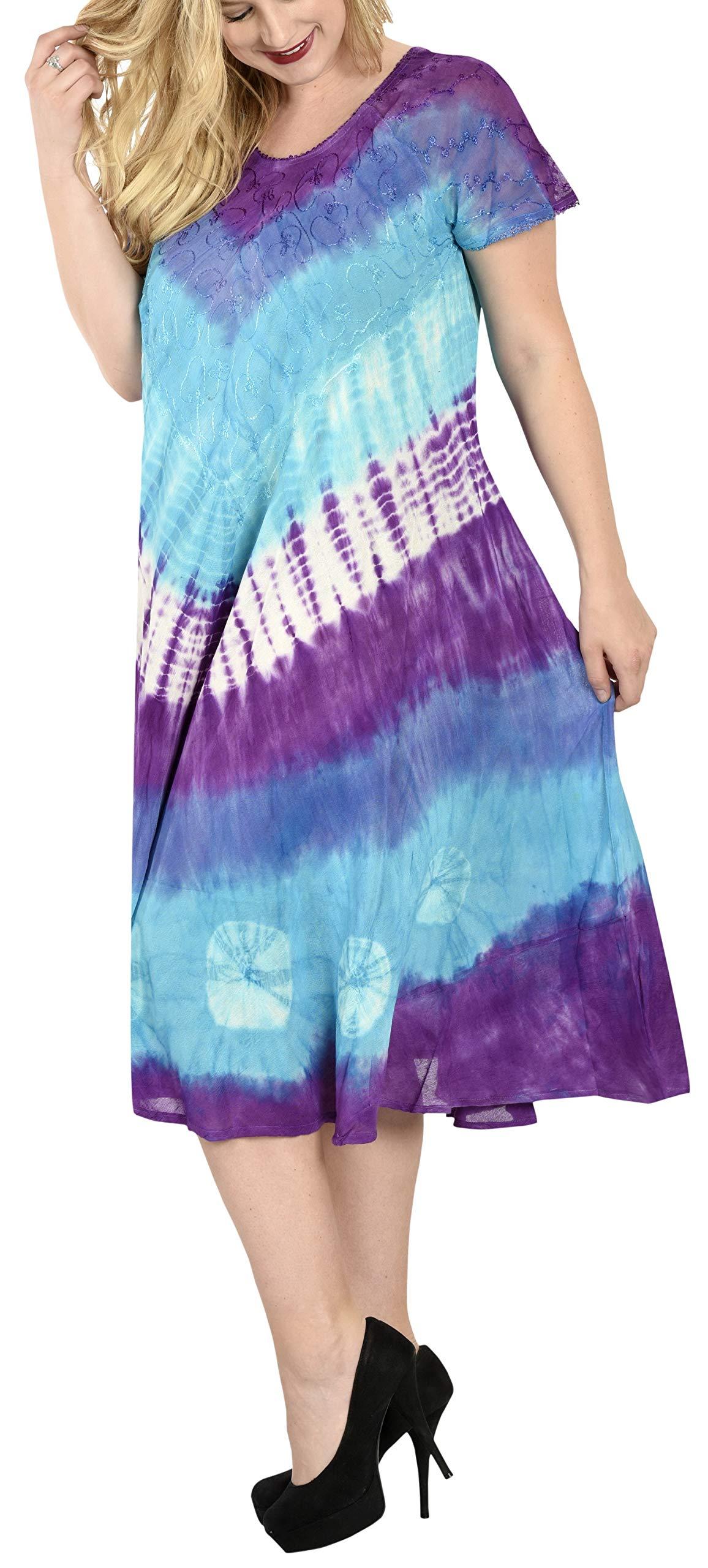 LA LEELA Rayon Tie Dye  Maxi Tube Halter Dresses Top Womens Violet 114 One Size