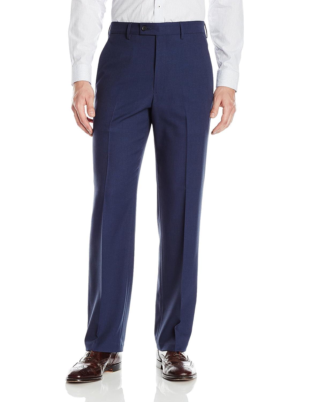 Haggar Mens Expandomatic Dress Stretch Solid Classic Fit Plain Front Pant Dress Pants