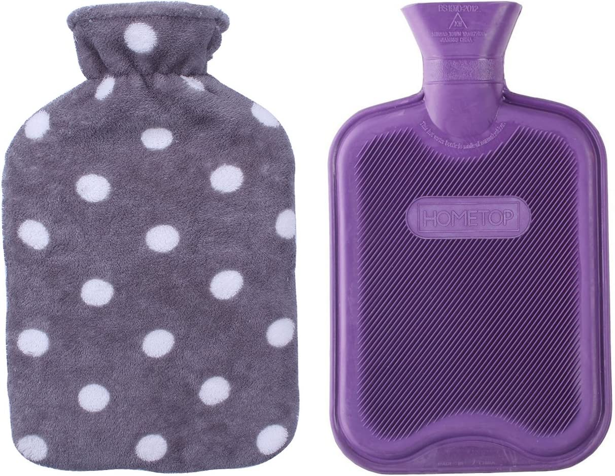 HomeTop Premium Classic Rubber Hot or Cold Water Bottle with Soft Fleece Cover (2 Liters, Purple/Gray Polka Dot): Health & Personal Care