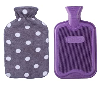 de76ee85aa7d HomeTop Premium Classic Rubber Hot or Cold Water Bottle with Soft Fleece  Cover (2 Liters