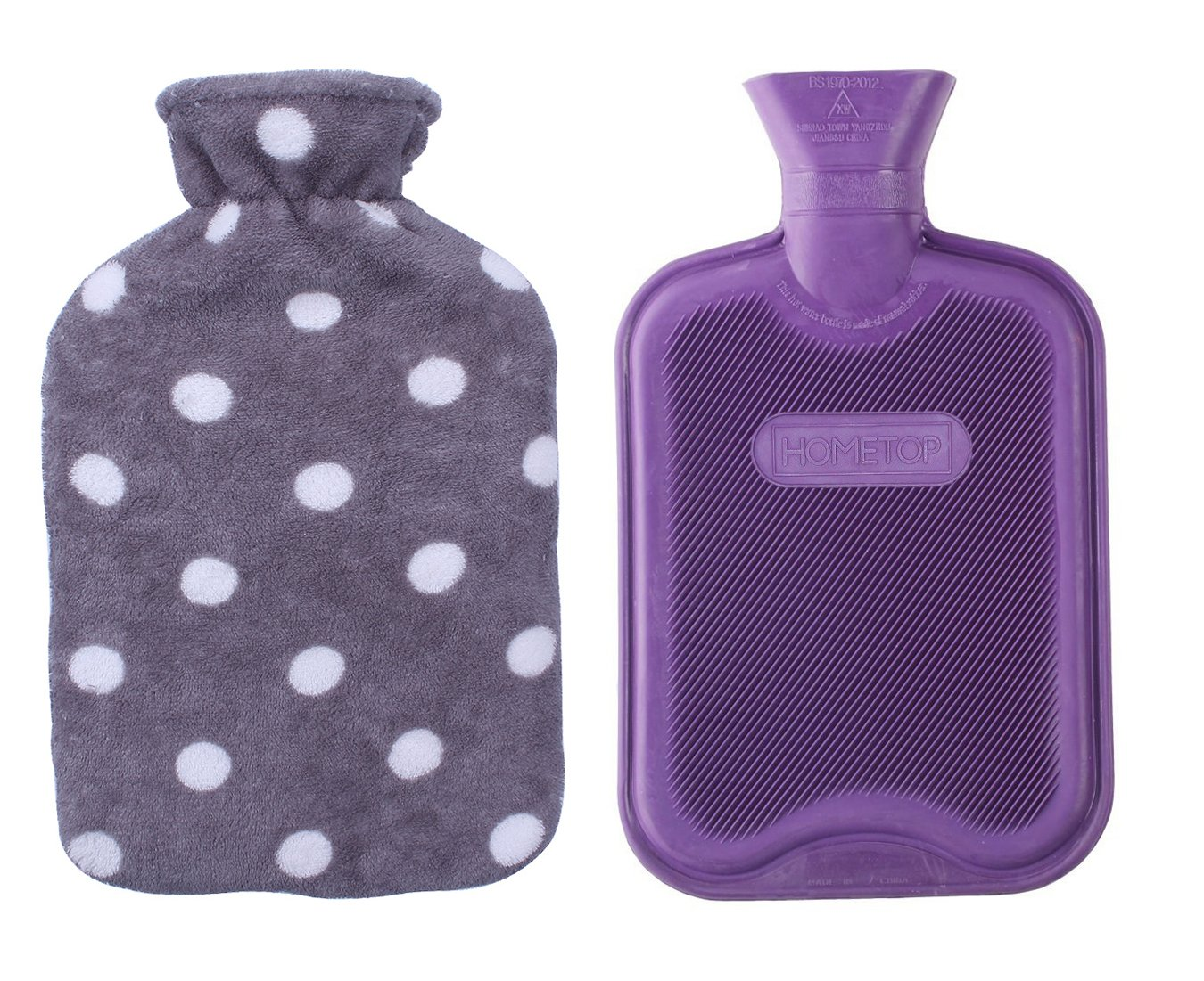 HomeTop Premium Classic Rubber Hot or Cold Water Bottle with Soft Fleece Cover (2 Liters, Purple/Gray Polka Dot)