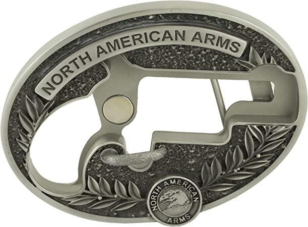 North American Arms NAA LNG RFL CUST Oval Belt Buckle, Silver