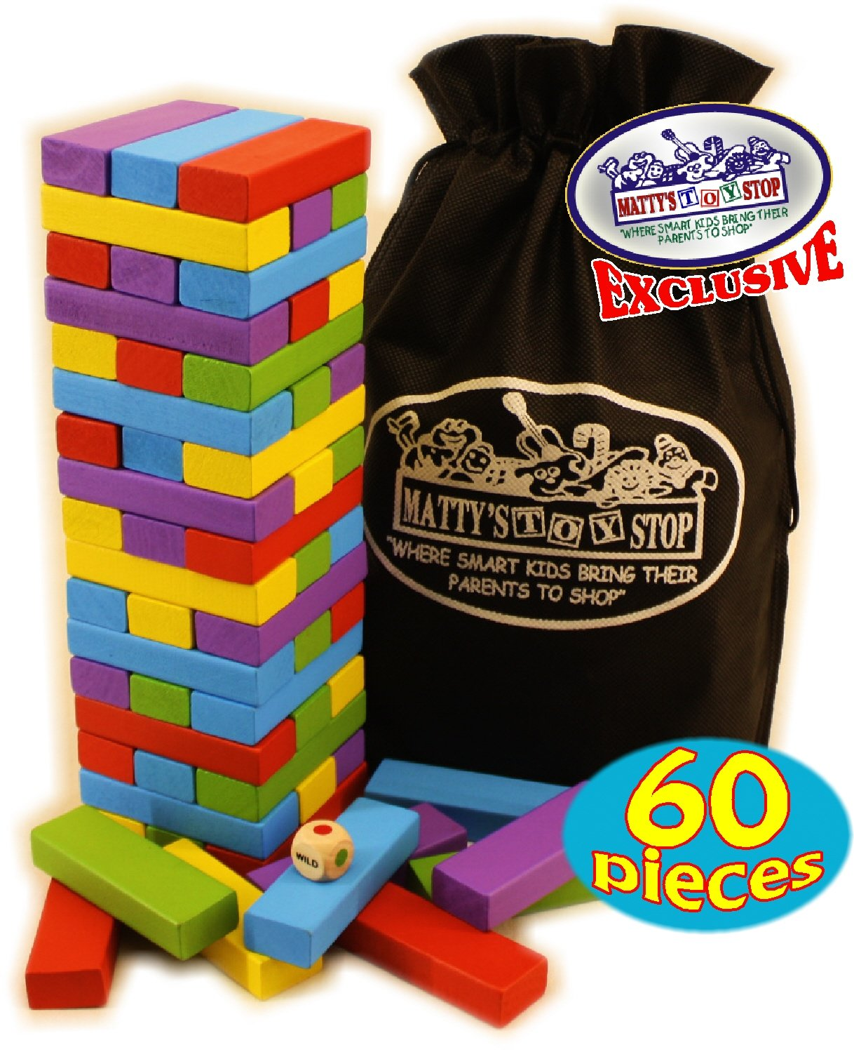 Matty's Mix-Up 60pc Large Colorful Wooden Tumble Tower Deluxe Stacking Game with Storage Bag by Matty's Toy Stop