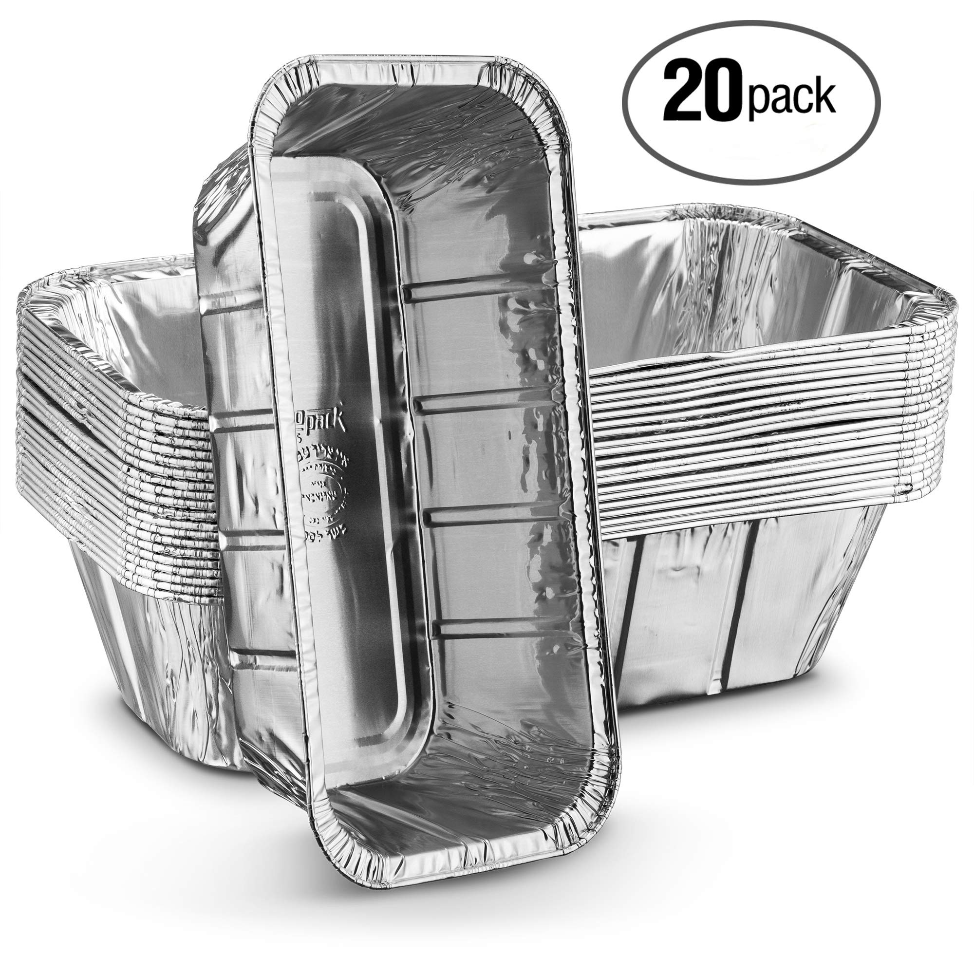 Propack Aluminum Disposable Rectangle 5 Pound Loaf Pans For Serving, Baking, Cooking, Roasting, Broiling, Cakes, Lasanga,etc, 12.5'' x 6.5'' x 3'' Pack of 20