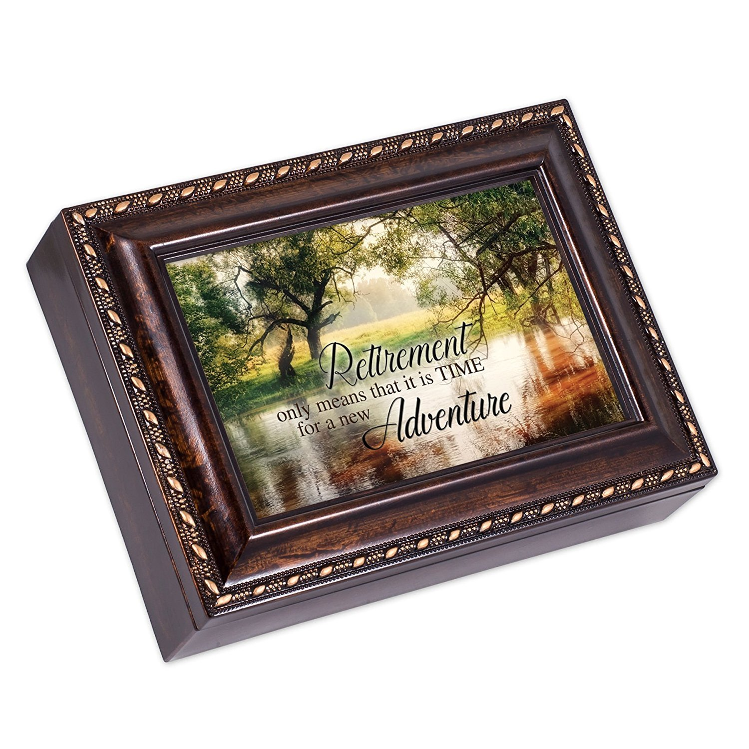 Cottage Garden A Friend Knows The Song of Your Heart Burlwood Rope Trim Jewelry Music Box Plays Canon in D