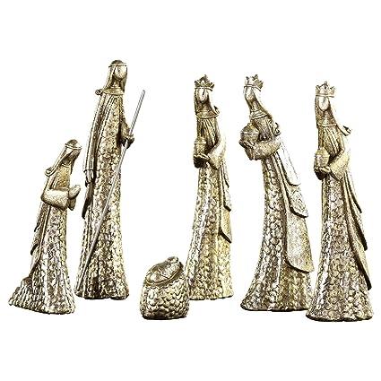 Amazon Com Gift Craft Silvertone Contemporary 6 Piece Resin Stone
