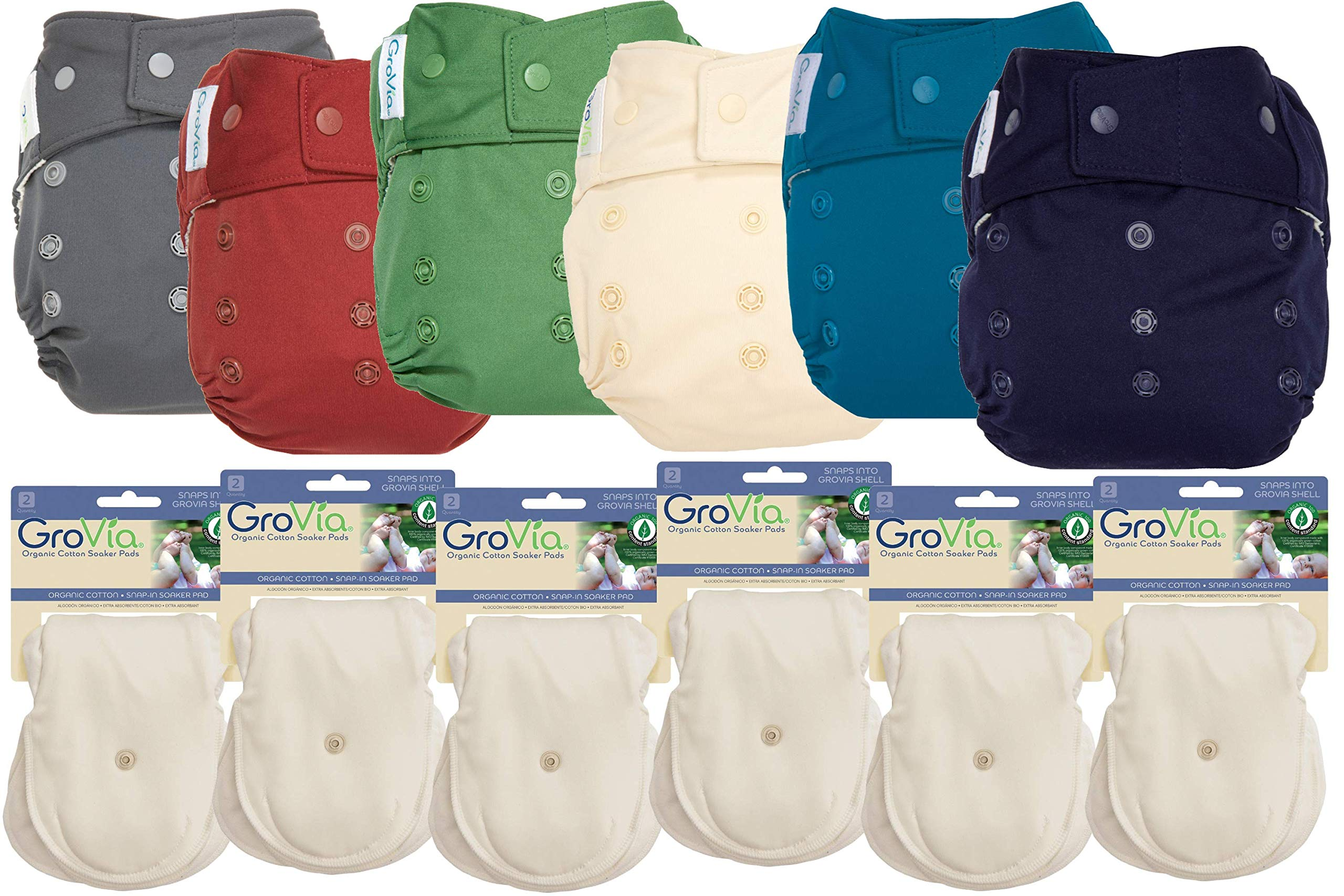 GroVia Hybrid Part Time Package: 6 Shells + 12 Organic Cotton Soaker Pads (Color Mix 7 - Snap)