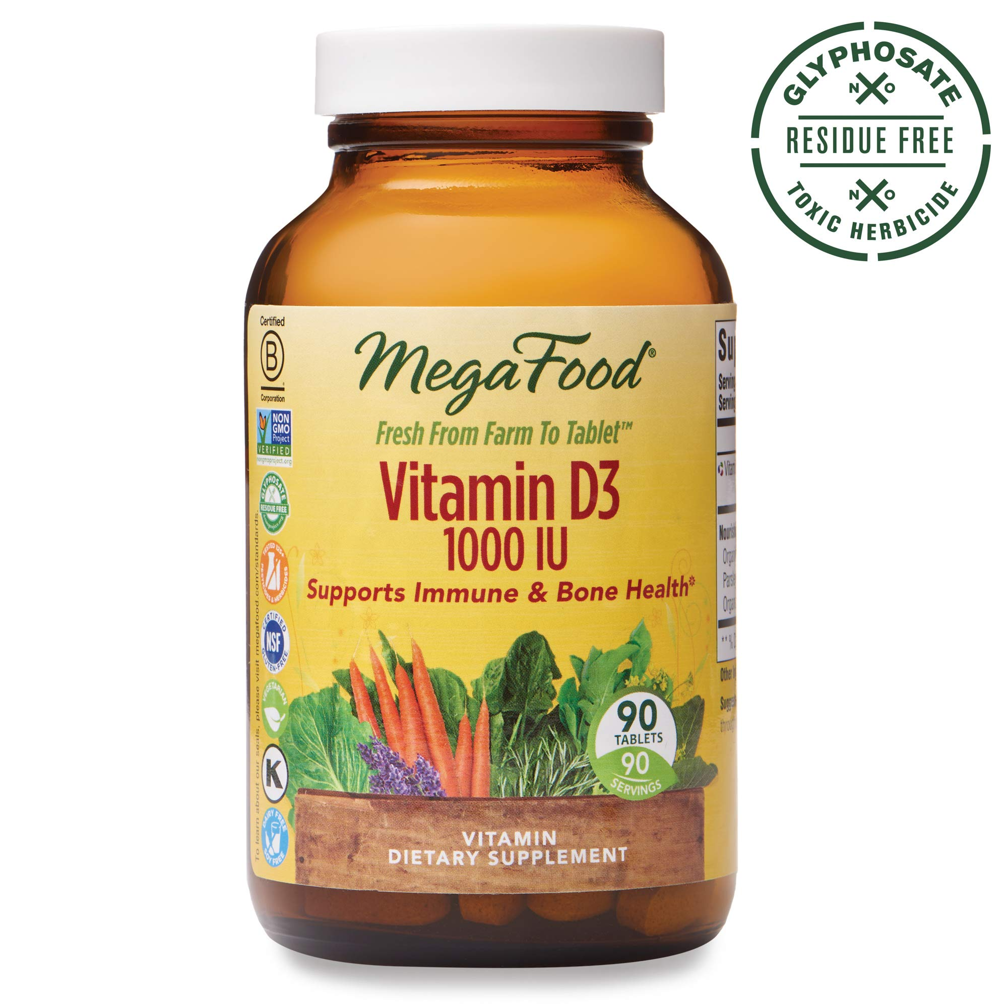 MegaFood, Vitamin D3 1000 IU, Immune and Bone Health Support, Vitamin and Dietary Supplement, Gluten Free, Vegetarian, 90 Tablets (90 Servings) (FFP)