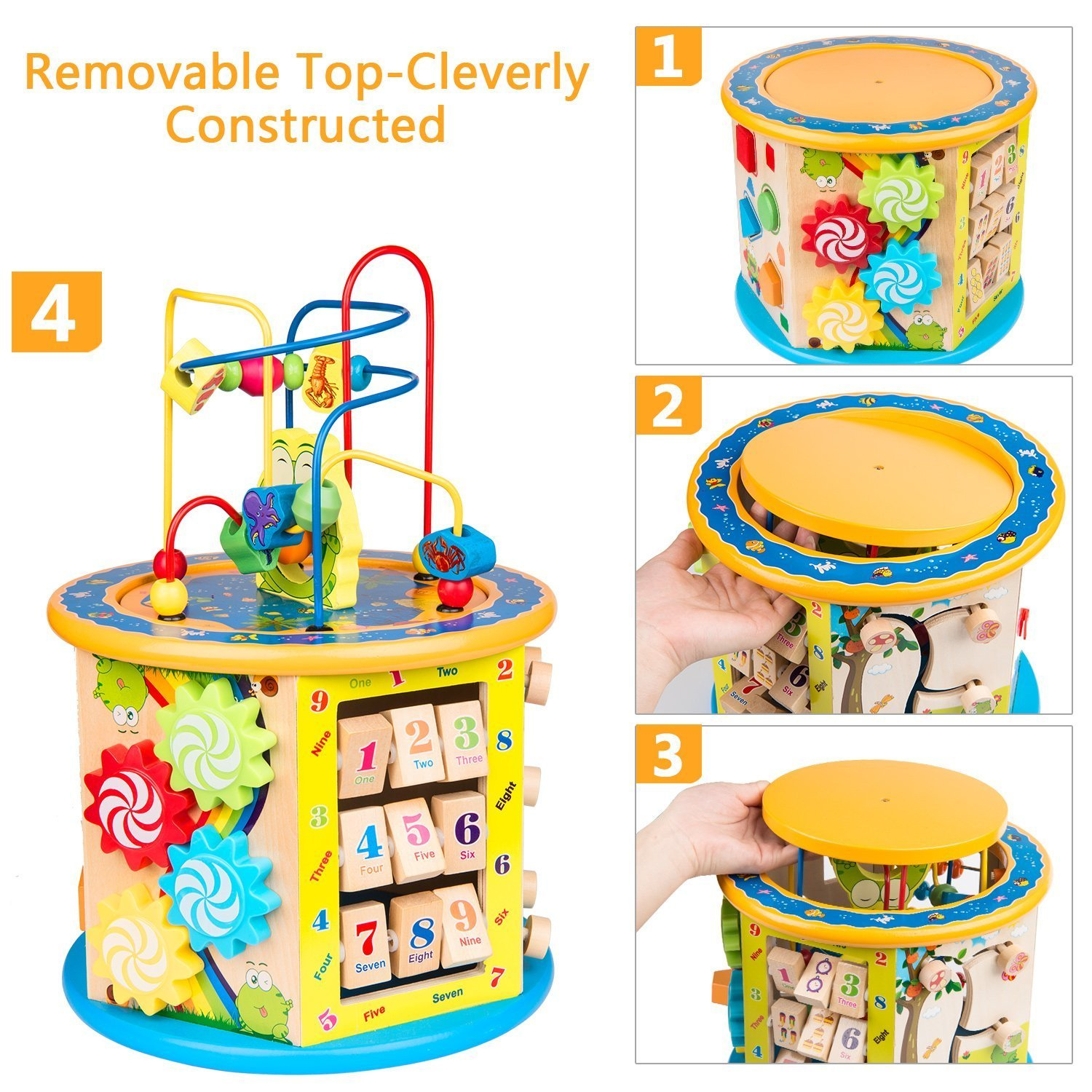BATTOP Large Multifunction Wooden Activity Cube Bead Maze Educational Toys for 1