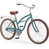 "sixthreezero Around The Block Women's 26"" Single Speed New Beach Cruiser Bicycle with Rear Rack, Pine Melon, One Size"