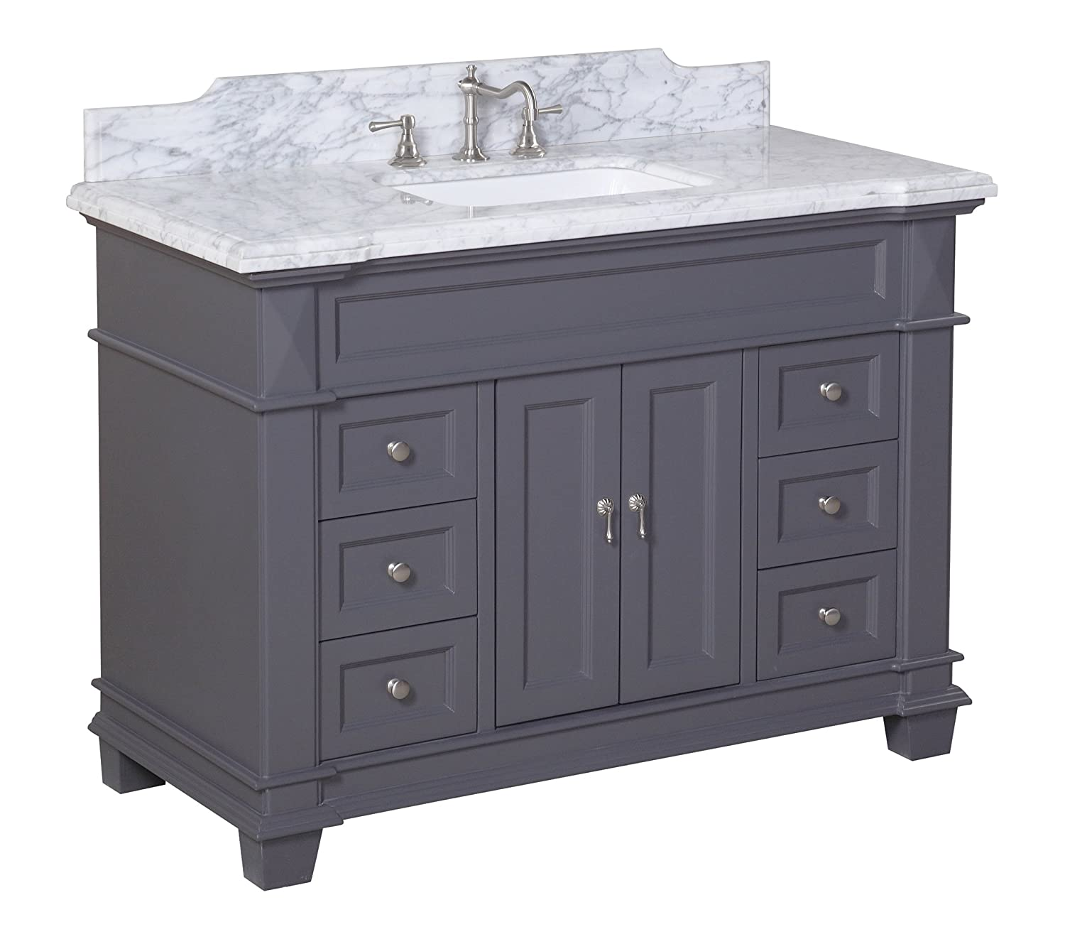 Elizabeth 48-inch Bathroom Vanity Carrara Charcoal Gray Includes Gray Cabinet with Soft Close Drawers Self Closing Doors, Authentic Italian Carrara Marble Top, and Rectangular Ceramic Sink