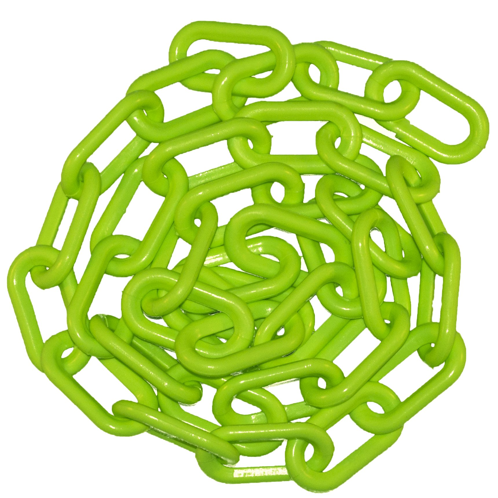 Mr. Chain 50014-25 Plastic Barrier Chain, High Density Polyethylene with UV Inhibitors, 2'' Link x  25', Green