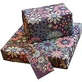 re-wrapped–1fogli con 2cartellini corrispondenza di eco friendly riciclata carta da regalo di compleanno–Viola Ditsy fiori da incastro Kate Heiss