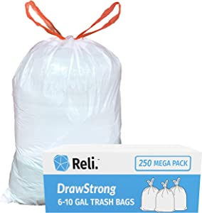 Reli. 6-10 Gallon Trash Bags Drawstring (250 Count) Small 8 Gallon Trash Bags Drawstring, Garbage Bags (6 Gallon - 7 Gal - 8 Gallon - 10 Gallon Capacity) - White Drawstring Garbage Bags (6-10 Gal)
