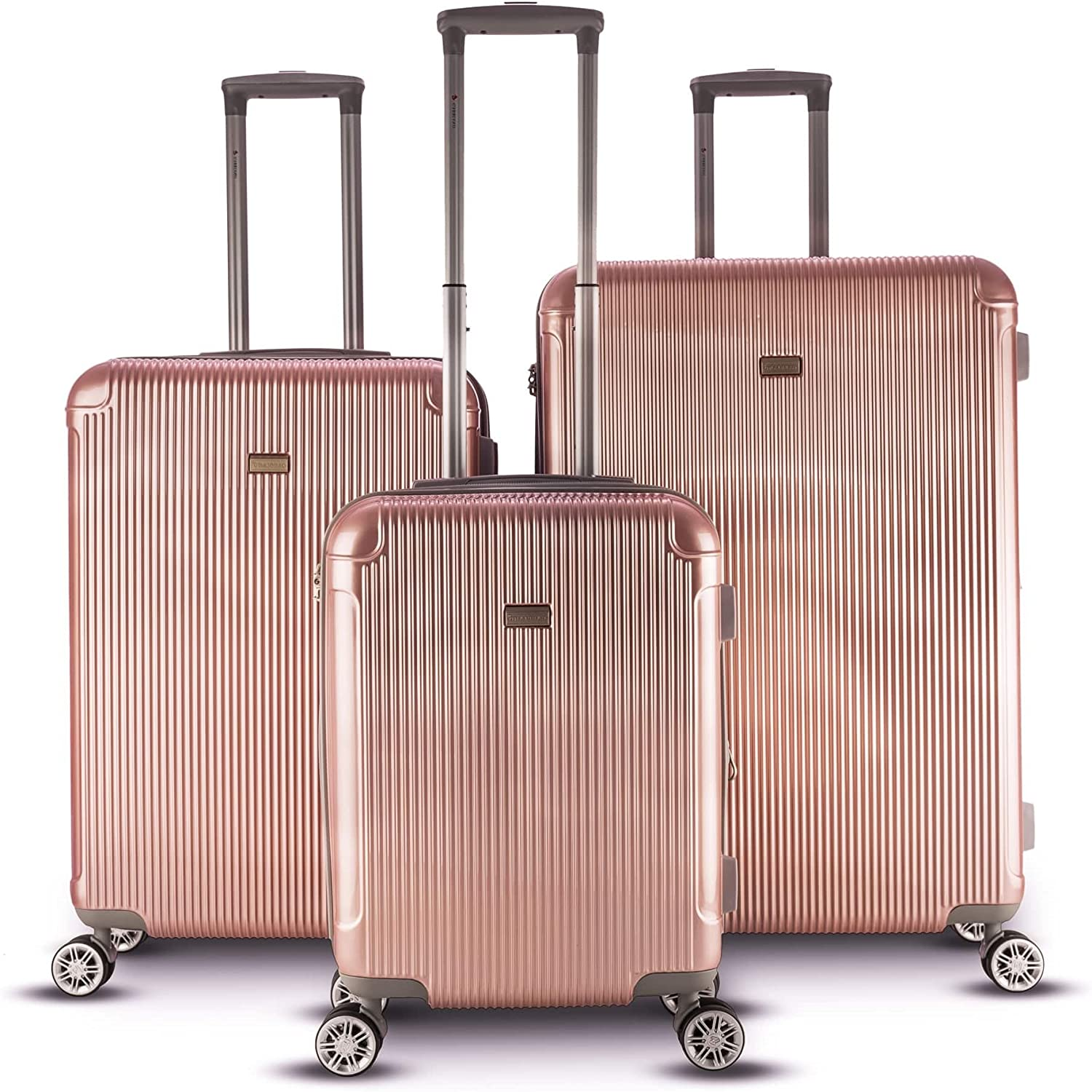 3 Piece Solid Geometric Stripes Theme Spinner Lightweight Expandable Carry  On Luggage Set Suitcases, Vertical Lines Design, Hardsided, Hardshell,  Multi Compartment, Fashion Hard Travel Bags, Rose Gold: Amazon.ca: Clothing  & Accessories