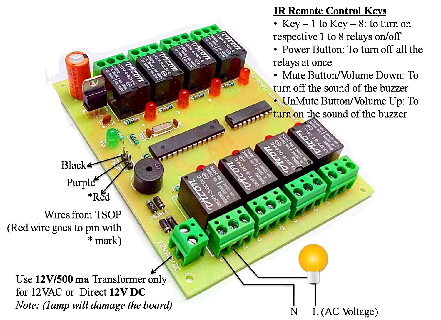 Insignia Labs Wireless Ir 8 Channel Remote Control Relay Board Circuit By Using A To Operate The Ac Mains Appliances An Module Light Fan Industrial Scientific