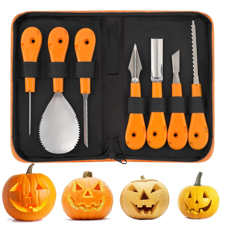 JuguHoovi Professional Halloween Pumpkin Carving Tool Kit, Premium 7 Piece Stainless Steel Pumpkin Carving Tools Set for Halloween with Storage Carrying Case - Pumpkin Color