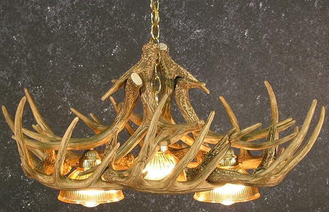 whitetail deer 10 antler chandelier with 3 downlights deerhorn