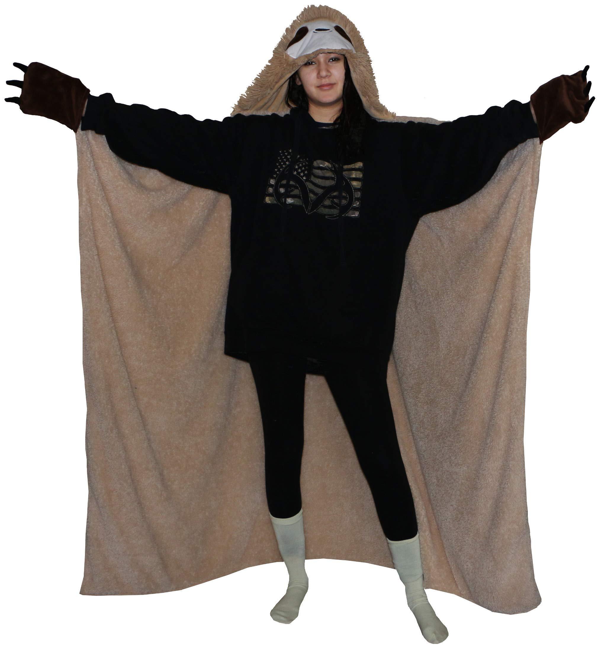 Thnapple Slothy Sloth Wearable Hooded Blanket