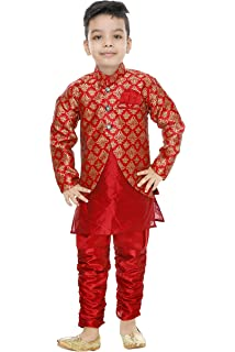 63e8cc8276 Generic Boys festive & Party Kurta, Waistcoat and Pyjama Set(Red)