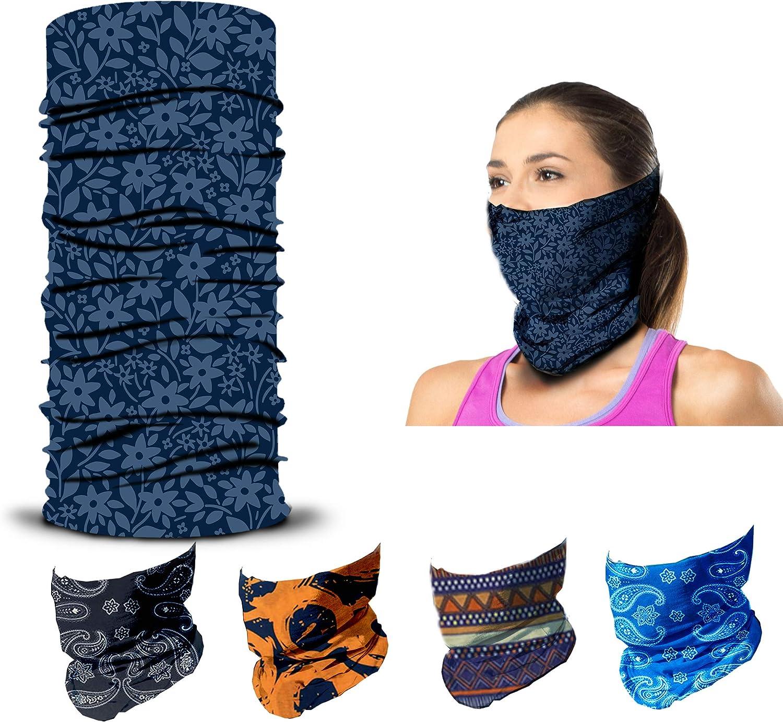 5 Pieces Reusable Face Cover Scarf Bandana Neck Gaiters for Women//Men