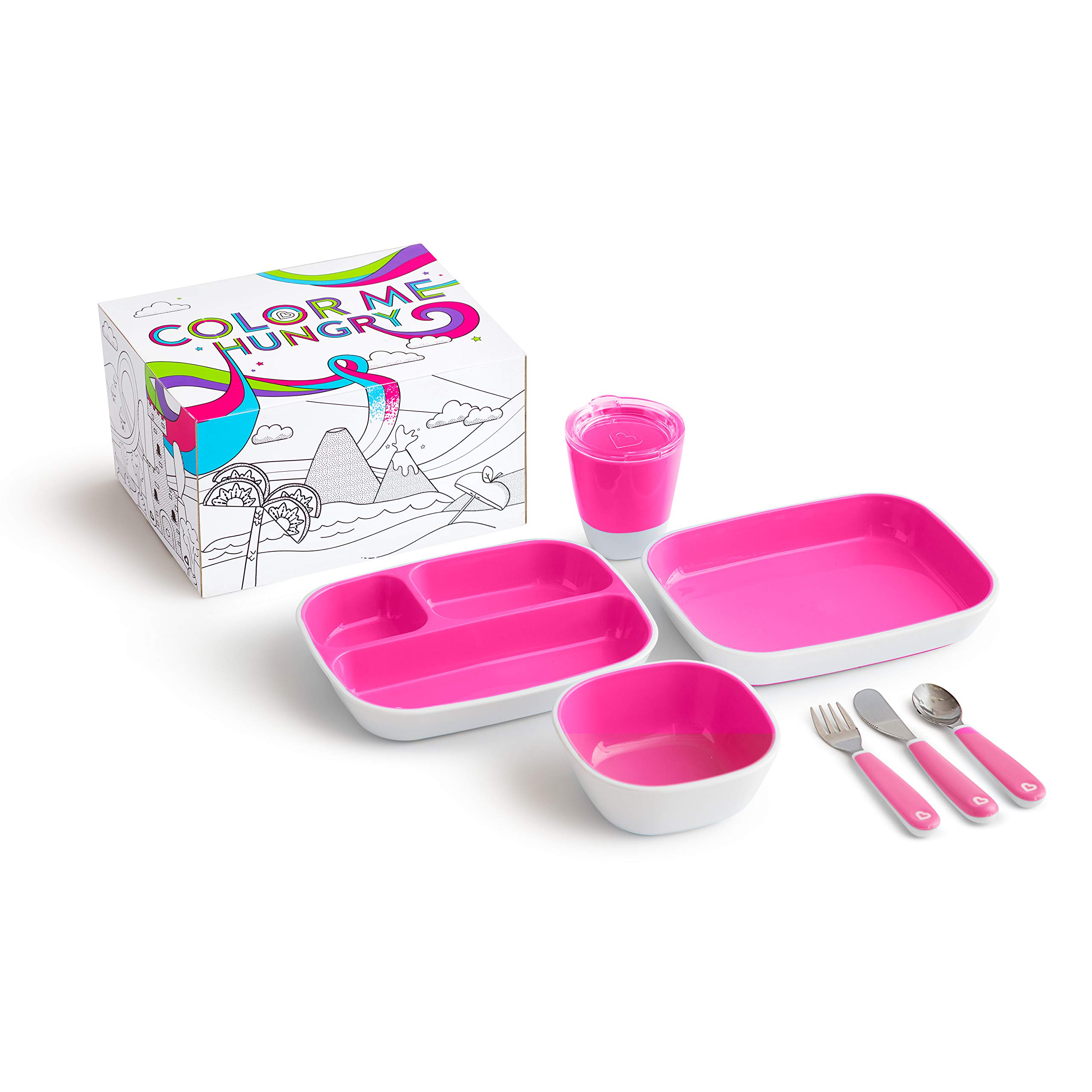 Munchkin Color Me Hungry Splash 7pc Toddler Dining Set - Plate, Bowl, Cup, and Utensils in a Gift Box, Pink by Munchkin
