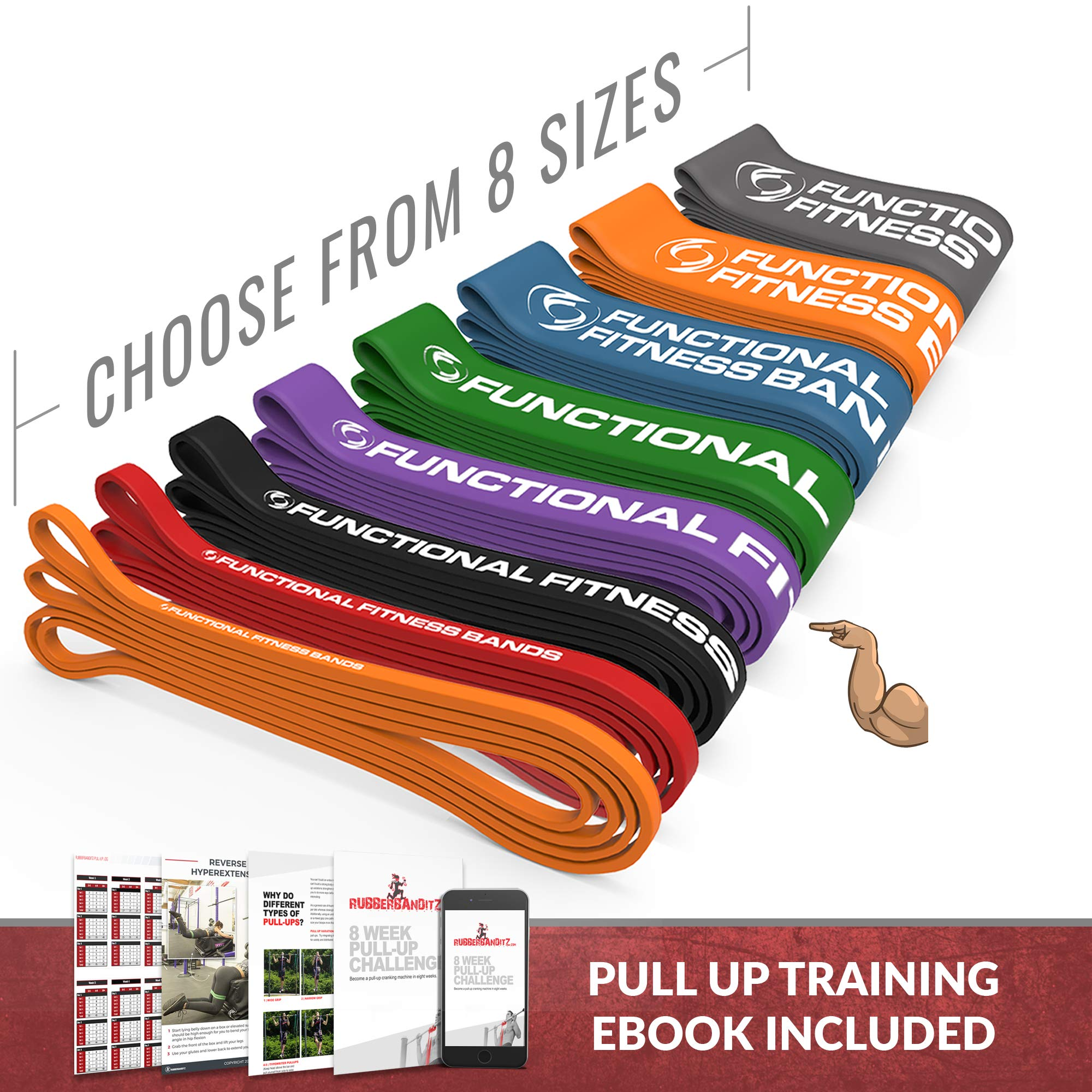 Rubberbanditz Functional Fitness Pull Up Assistance Resistance Band #4 - for 40-80 lbs of Resistance for Mobility, Stretching, Pilates, Exercise, Chin Ups, Powerlifting, Fitness & Crossfit