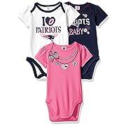 NFL New England Patriots Girls Short Sleeve Bodysuit (3 Pack), 3-6 Months, Pink