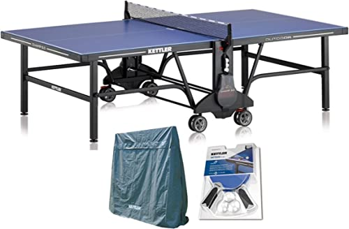 Kettler Champ 5.0 Outdoor Table Tennis Table with Outdoor Accessory Bundle 2 Halo 5.0 Rackets, Cover, and Balls