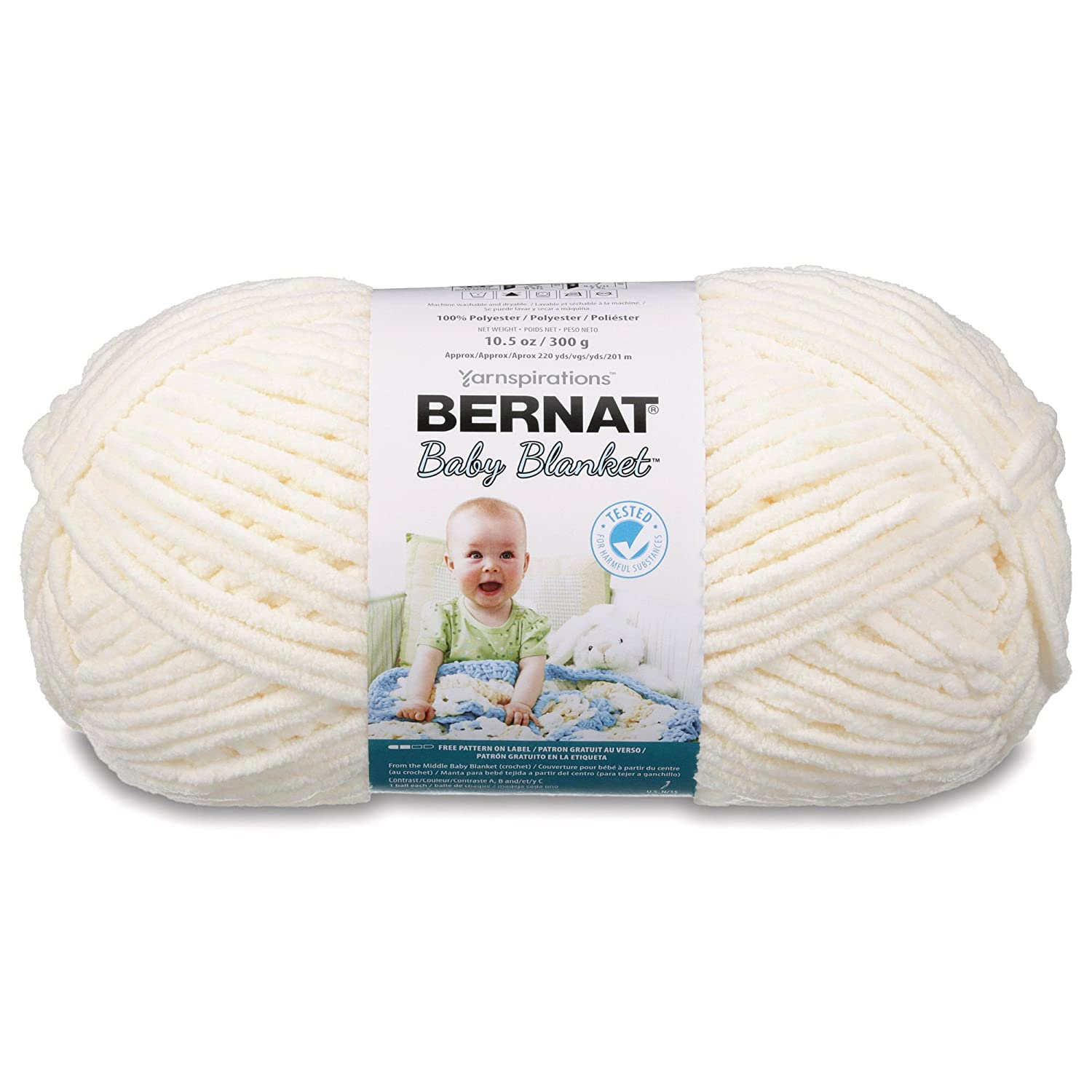 Bernat Baby Blanket Yarn - (6) Super Bulky Gauge - 10.5 oz - Vanilla - Single Ball Machine Wash & Dry Spinrite 16110404008