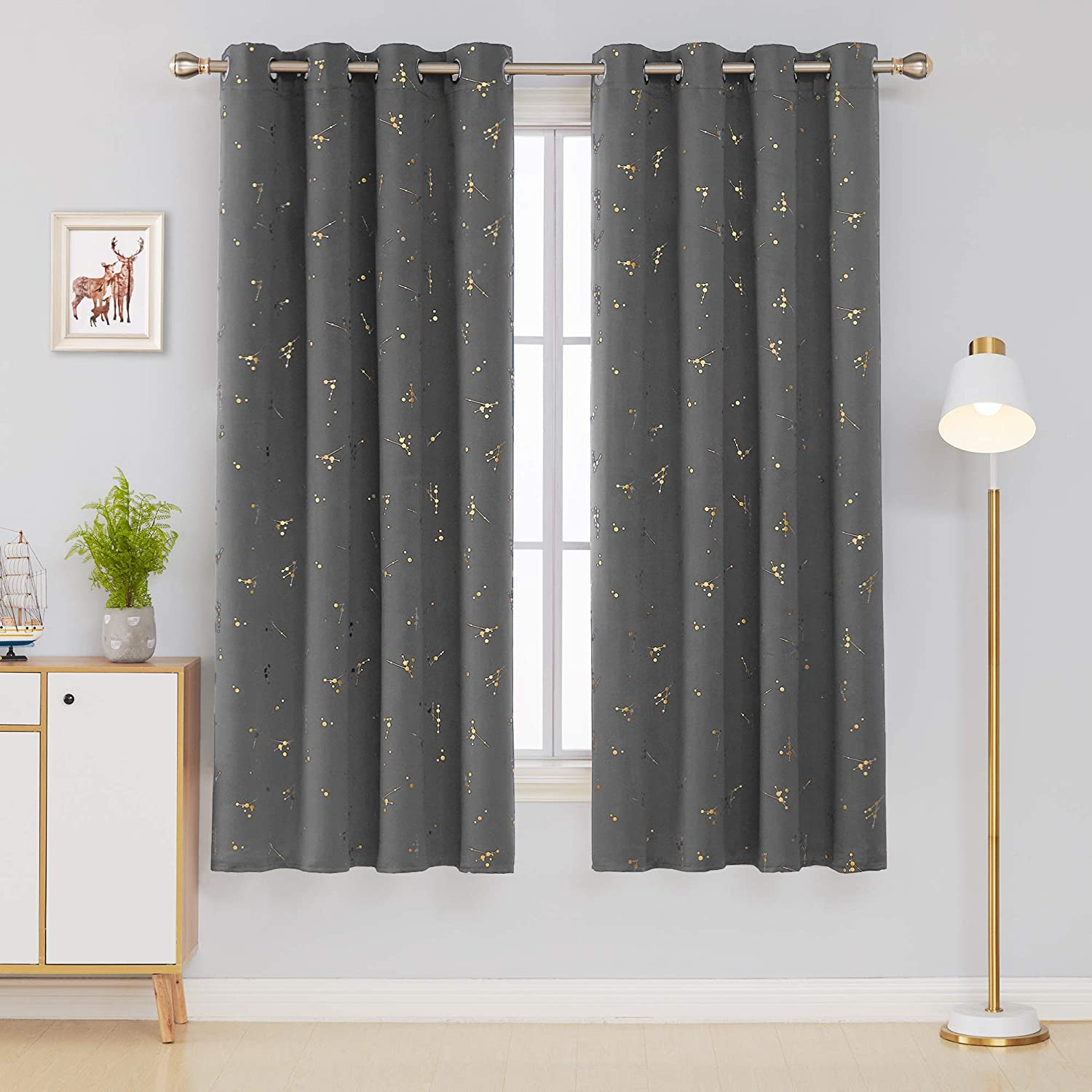 Deconovo Eyelet Curtains Blackout Curtains Gold Constellation Printed Thermal Insulated Curtains for Baby Nursery with Two Matching Tie Backs Royal Blue W66 x L72 One Pair