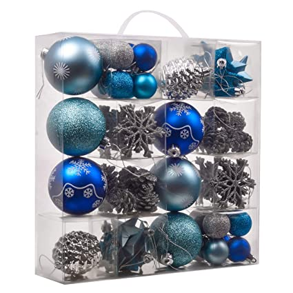 teresas collections 70ct winter land shatterproof christmas ball ornaments decoration silver and blue with string pre - Blue And Silver Christmas Ornaments