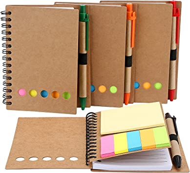 Spiral Notebook Lined Notepad with Pen in Holder and Sticky Notes