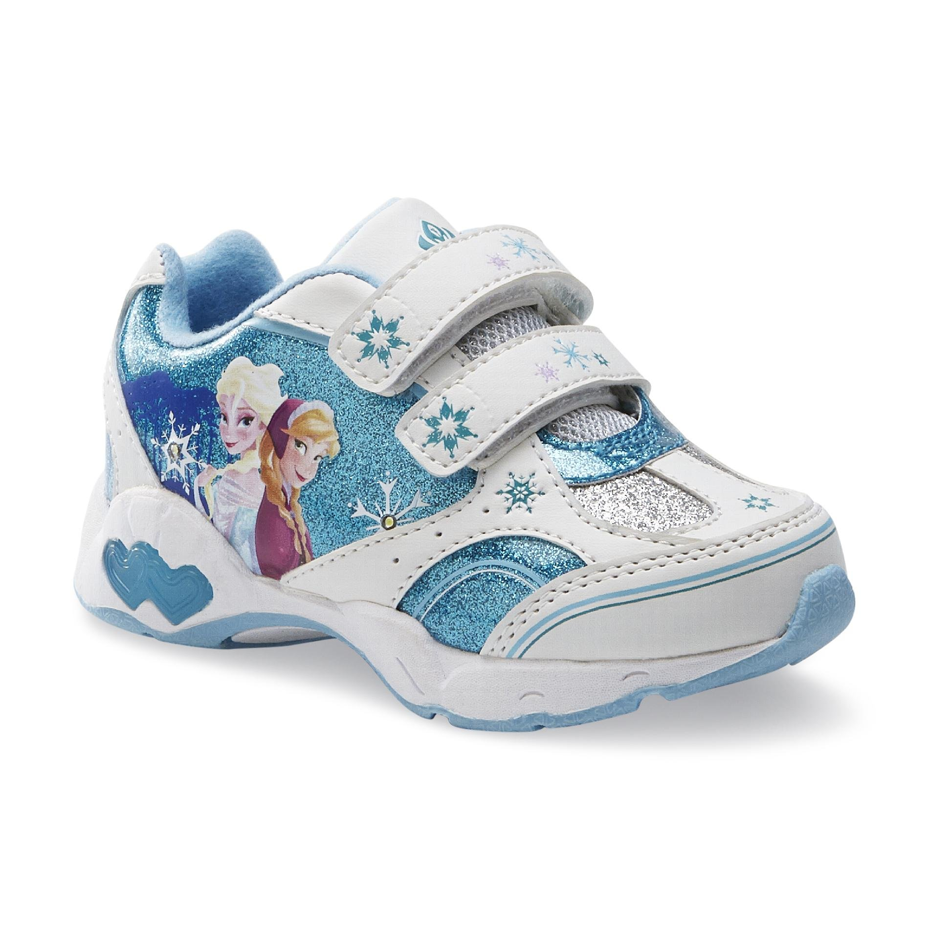 Disney Frozen Toddler Elsa Anna Sneakers Light-Up Lights Athletic Kids Shoes Blue White