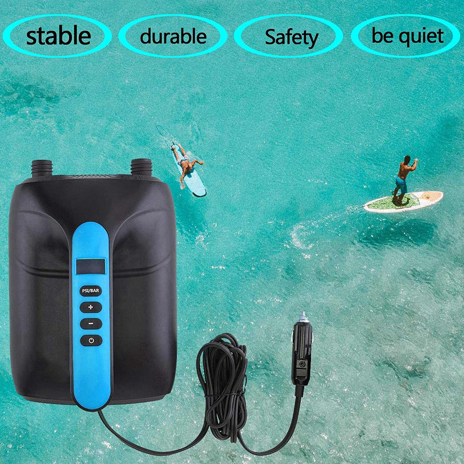 12V Smart High Pressure Pump Intelligent Dual Stage /& Auto-Off Function Inflatable Boats and Kayaks Great for Tent 20PSI SUP Digital Electric Air Pump Paddle Boards