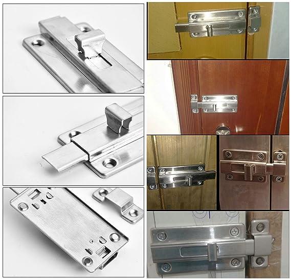 Paquete de 2 cerraduras para puerta corredera de acero inoxidable para puerta de inodoro, de baño o de ventana, cerradura para puertas para mascotas (6,35 ...
