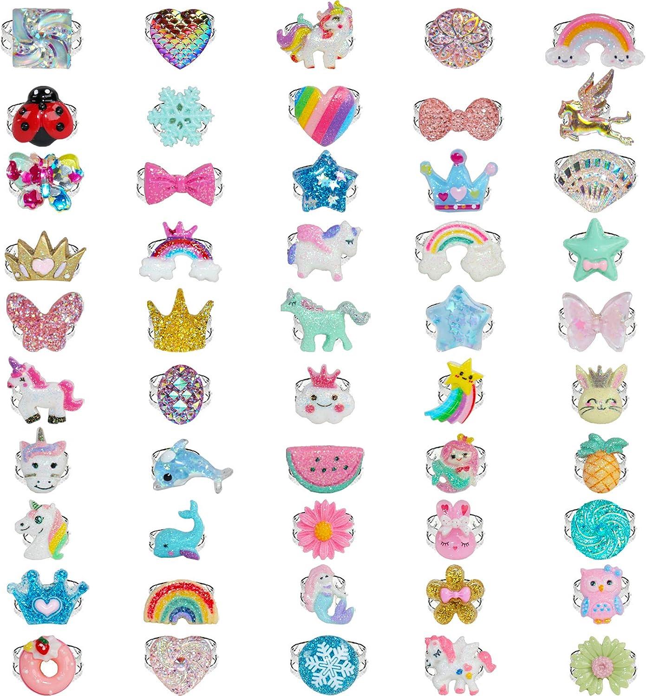 SOTOGO 50 Pieces Girl Rings Kids Rings Adjustable Rings Play Girl Dress up Rings, Little Girls Rings Gift