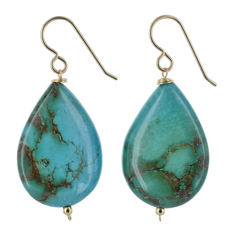Bold Earrings ASHANTI Turquoise Natural Gemstone 14K Gold-Filled Handmade Earrings