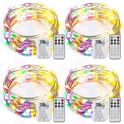 Ariceleo 4 Packs Warm White & Multi-Color Battery Operated String Lights, 5M/16.4ft. 50 LEDs Remote Control Timer 12 Modes Optional Twinkle Battery Powered Fairy Lights Sliver Wire Firefly Lights : Garden & Outdoor