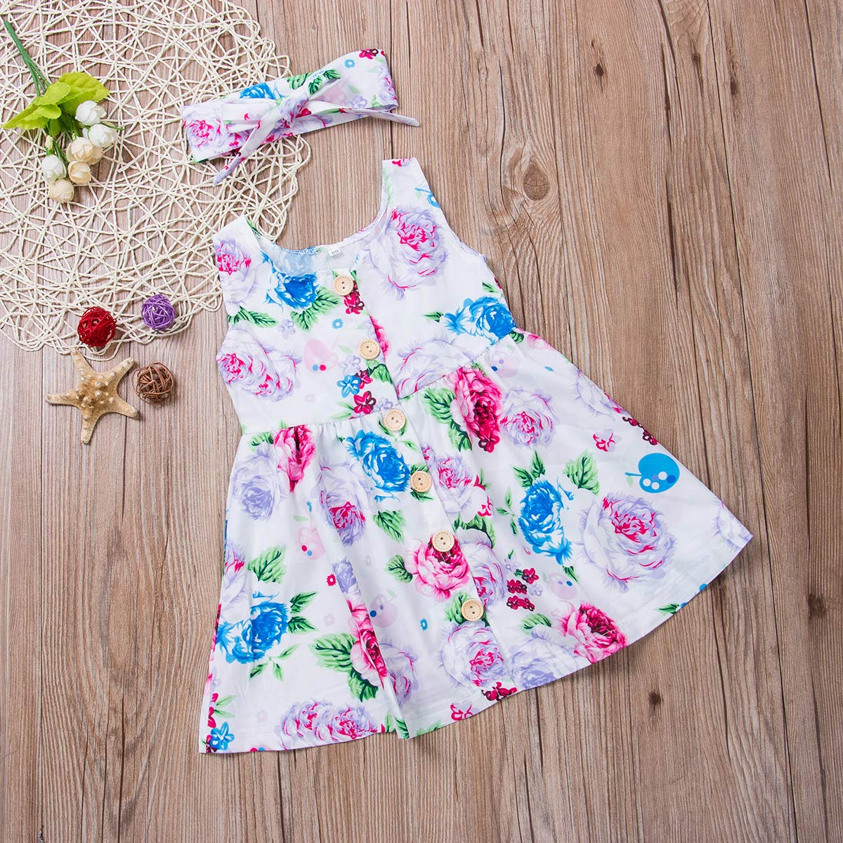 Luckylife Toddler Kids Baby Girl 2Pcs Cute Outfits Floral Party Dresses Sundress Headband Summer Clothes Set 6 Months- 4 Years