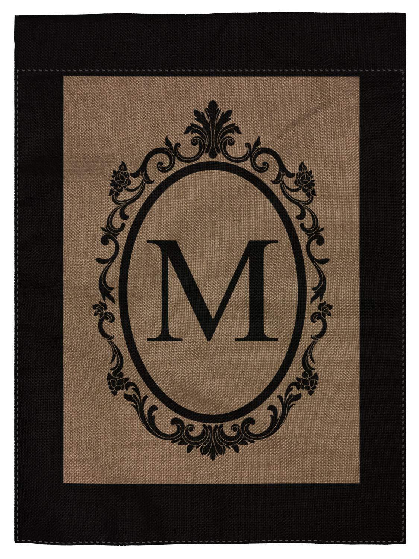 """pingpi M Garden Flag Burlap Monogram Flag Double Sided 12.5"""" X 18"""""""