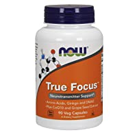 NOW Supplements, True Focus with Amino Acids, Ginkgo and DMAE + CoQ10 and Grape...