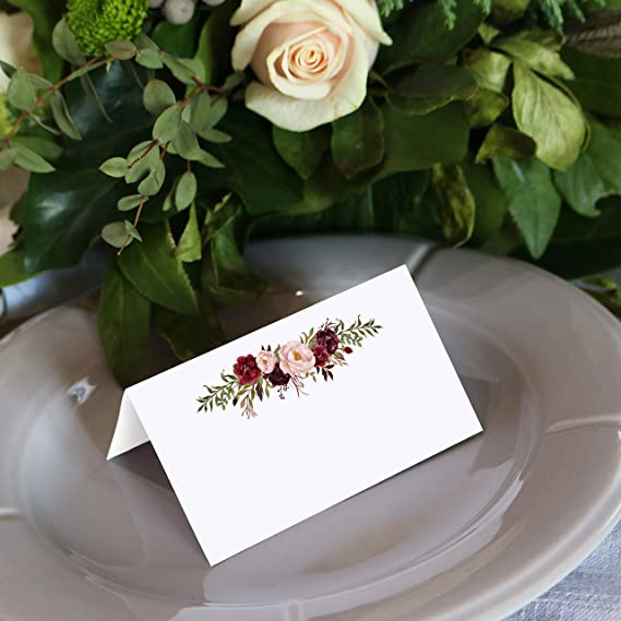 #R1 Flat Place Cards Editable Place Cards Foldable Place Cards Printable Name Cards Romantic Place Cards Rose Wedding Place Cards