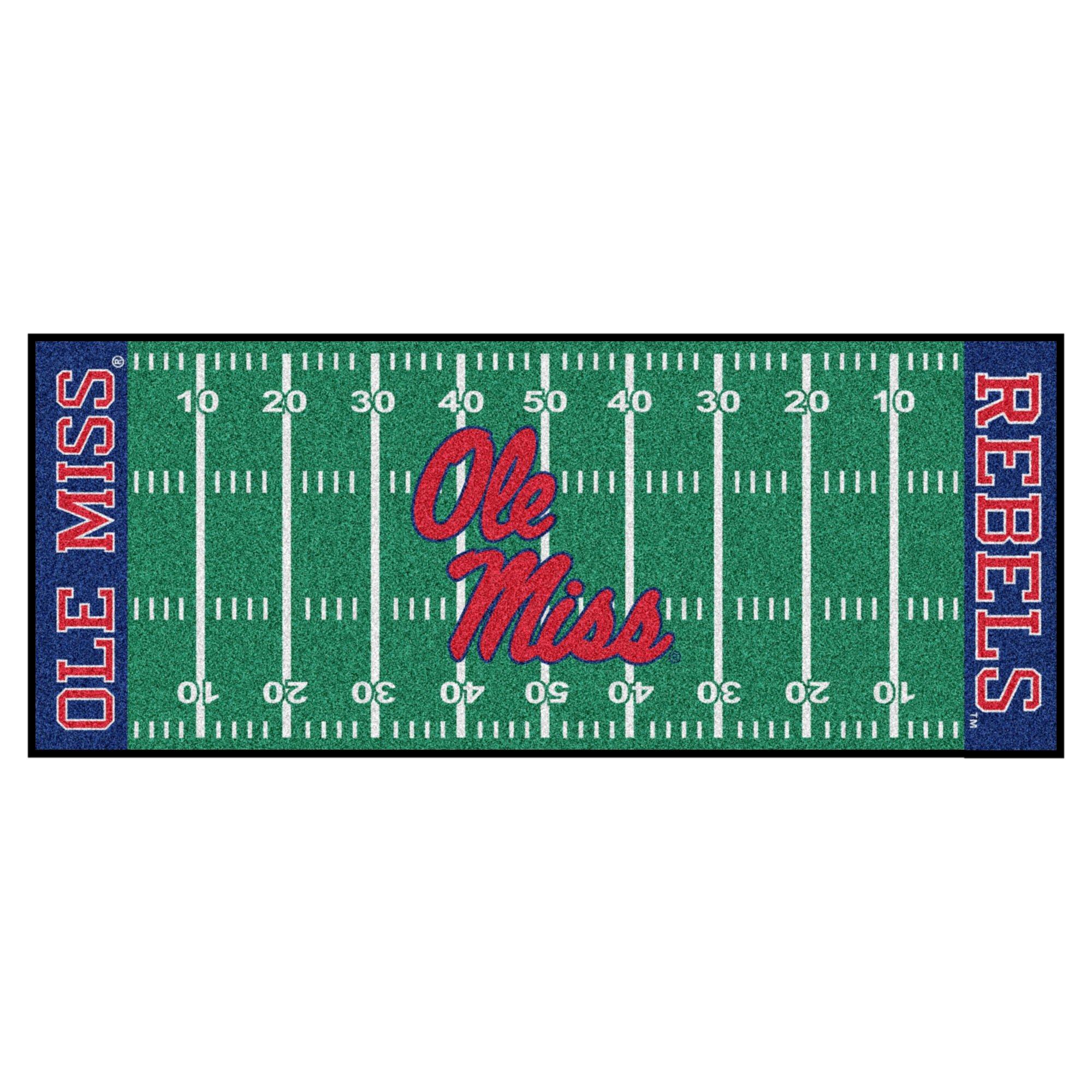 NCAA University of Mississippi (Ole Miss) Rebels Football Field Runner Mat Area Rug