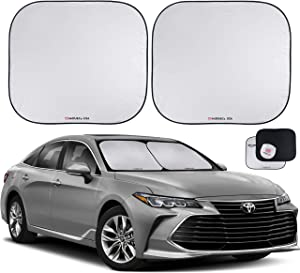 Car Windshield Sun Shade 2 Piece - Genuine 210T Ultra Reflective Fabric for Max. UV and Sun Protection - Car Shade Windshield - Windshield Protector - Sunshade for Car Windshield (Large (28