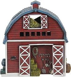 "Exhart Miniature Dutch Barn Garden Statue, Fairy Gardening, Resin, Solar Powered, Hand Painted, 7"" L x 7"" W x 11"" H"