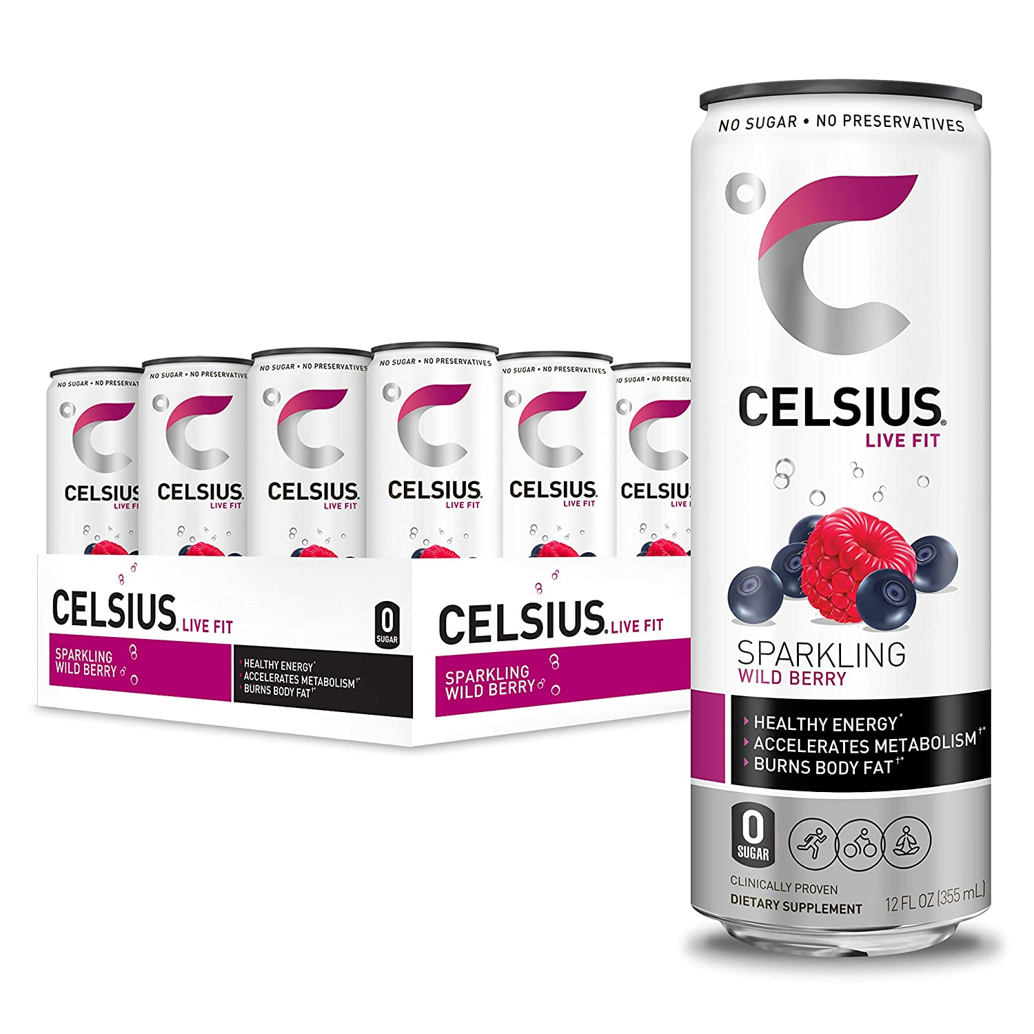 CELSIUS Sparkling Wild Berry Fitness Drink, Zero Sugar, 12oz. Slim Can, 12 Pack